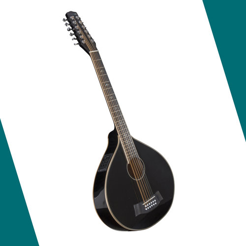 Guitarcittern 12-string, high gloss black with pickup + built-in tuner