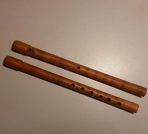 Woodwhistle aus Pflaumenholz in D mit Zierringen